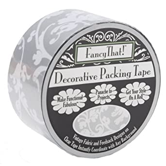 "Decorative Packing Tape 1.875"" Wide 25 Yard Roll-Silver Scroll"
