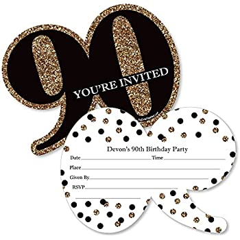 Amazon big dot of happiness chic 90th birthday pink black custom adult 90th birthday gold personalized birthday party invitations fill in invitation cards with envelopes set of 12 filmwisefo