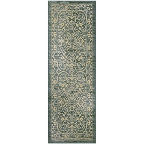 Runner Rug, Maples Rugs [Made in USA][Pelham] 2' x 6' Non Slip Hallway Entry Area Rug for Living Room, Bedroom, and Kitchen - Light Spa (Rugs Runner Hallway)