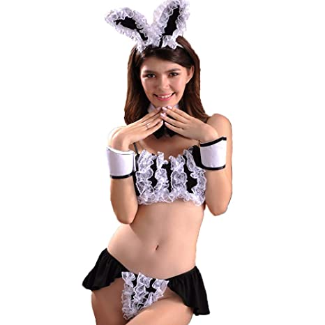 97830327cd Amazon.com   Women Racy Lingerie Bunny Girl Hosttess Adult Fancy Dress  Costume Rabbit Party Outfit Bunny Ears and Tail Cosplay Black Lace  Bodysuits   Sports ...