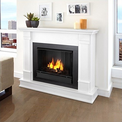 Real Flame Silverton White Mantel Gel Fireplace (Gel Fireplace Mantel compare prices)