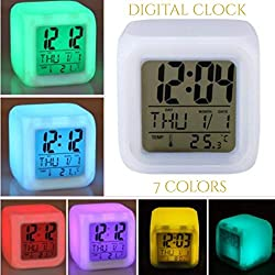 Amz wholesale Soft LCD Color Changing Digital Clock & Thermometer (7 LED Colors in 1) Night Glowing Cube, Large Display-White