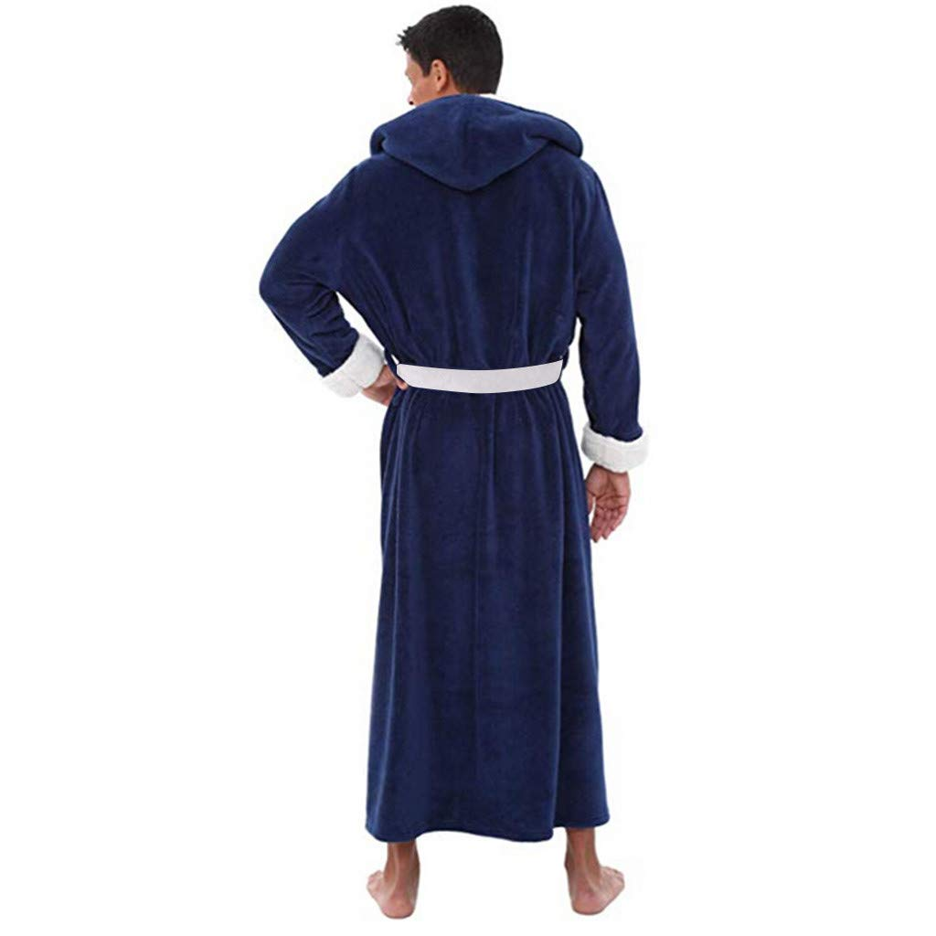 vermers Bathrobe Hooded Men Mens Long Hooded Shawl Bathrobe Home Clothes Lightweight Robe Best Seller