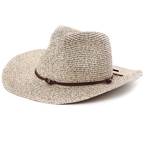 Fancet Mens Mexican Cowboy Hat Crushable Western Straw Strap for Women Country Costume Brown 59cm