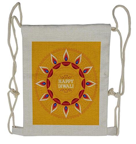 Lunarable Diwali Drawstring Backpack, Ethnic Cartoon Arrangement, Sackpack Bag by Lunarable