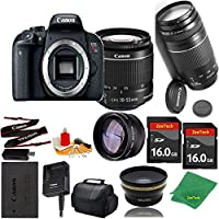 Great Value Bundle for T7I DSLR – 18-55mm STM + 75-300mm III + 2PCS 16GB Memory + Wide Angle + Telephoto Lens + Case