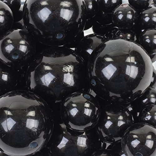 - Koyal Wholesale 80 Piece Floating Pearl Black Beads in Transparent Water Gels, Wedding Floating Candle Centerpieces