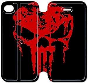 iphone 5 5s Flip Leather Phone Case Bloody The Punisher Skull Logo XZ1UI6416007