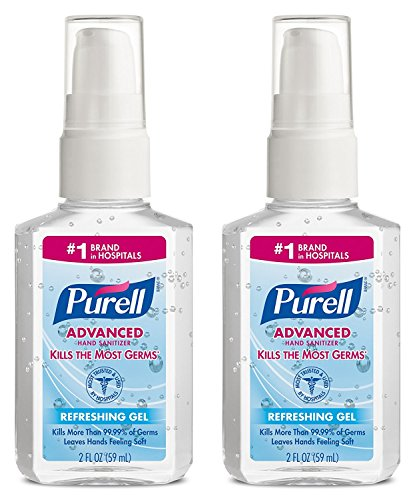 PURELL Advanced Instant Hand Sanitizer, 2 Ounce Pump Bottle (Pack of 2) Instant Hand Sanitizer Bottle