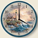 Wooden Wall Clock - Lighthouse on the Rocks - Made in USA