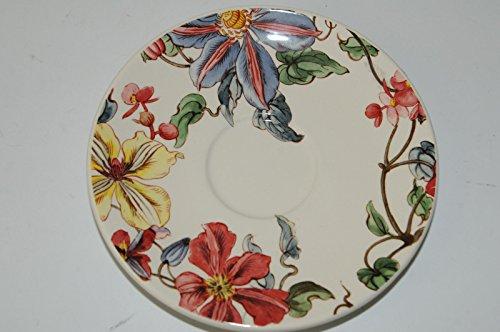 $22 NEW GIEN FRANCE CLEMATIS Flowers TEA SAUCER(S) 6 inches ;#G344T3486G 34BG82G287675 (Saucer France)