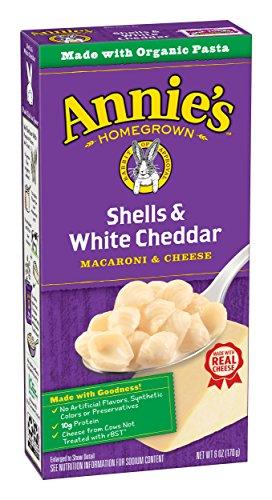 : Annie's Macaroni and Cheese, Shells & White Cheddar Mac and Cheese, 6 oz Box (Pack of 12)