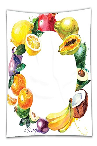 Nalahome Fleece Throw Blanket Fruit Nature Food with Banana Lemon Avocado Orange Coconut Fresh Agriculture Art Print Multicolor