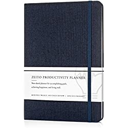 Zeito Productivity Planner - Best Undated Monthly, Weekly, and Daily Agenda Planner for Increasing Motivation, Accomplishing Goals, and Living Well in 2018-19 - Sleek Minimalist Design & Bonus eBooks