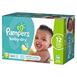Diapers Size 3, 144 Count - Pampers Baby Dry Disposable Baby Diapers, Giant