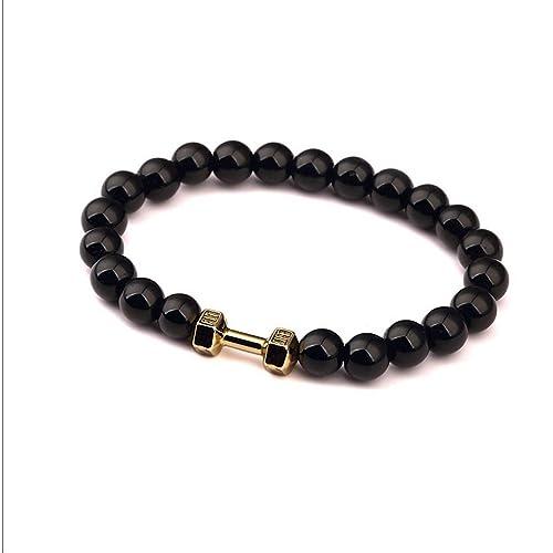 glucky: Fashion negro pulseras Ágata Piedra Colgante De pulseras pulsera de cuentas chapado en oro mancuernas Fitness ejercicio Hip Hop joyería ajustable: ...