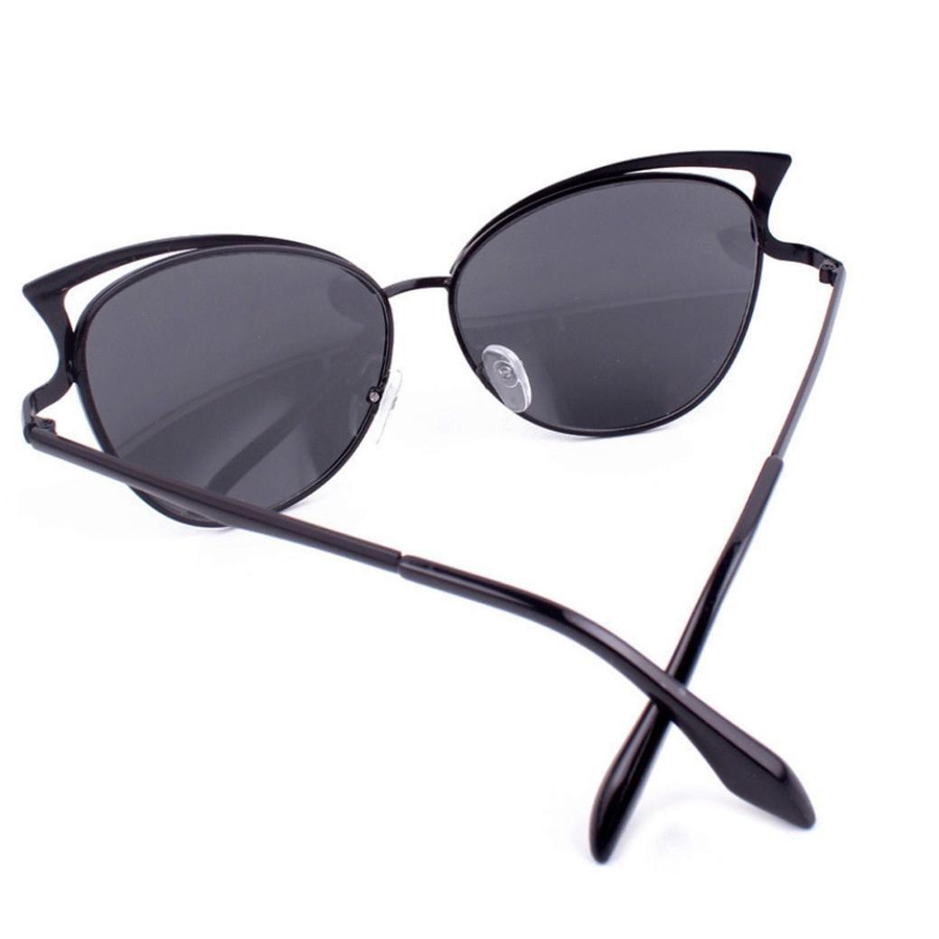 Women Fashion Cat Ear Sunglasses Metal Frame Sunglasses Brand Classic Tone Mirror Sunglasses DEESEE Black, Grey TM