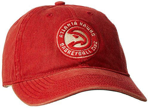 fan products of NBA Atlanta Hawks Men's Raised Chain Stitch Adjustable Slouch Hat, Red, One Size