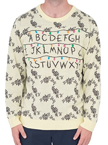 Netflix Show Costumes (Alphabet Lights Beige Light Up Costume Sweater (Adult Medium))