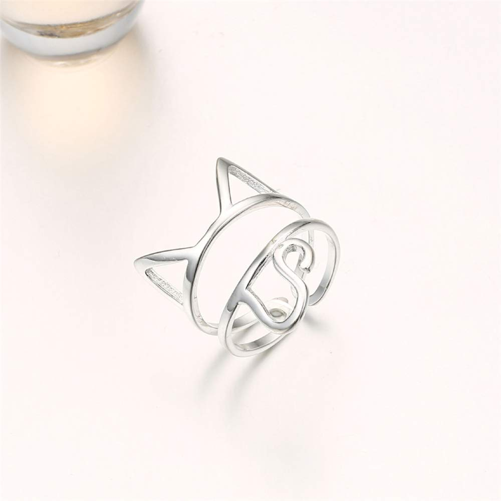 Rando Girls Lovely Kitty Cat Ring 925 Sterling Silver Wrap Rings Adjustable Open Ring Band