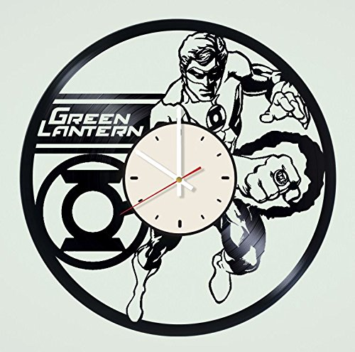 STP Cat Green Lantern Vinyl Wall Clock - Handmade Unique Artwork Home Bedroom Living Kids Room Nursery Wall Decor Great Gifts idea for Birthday, Wedding, Anniversary - Customize Your (White/White)