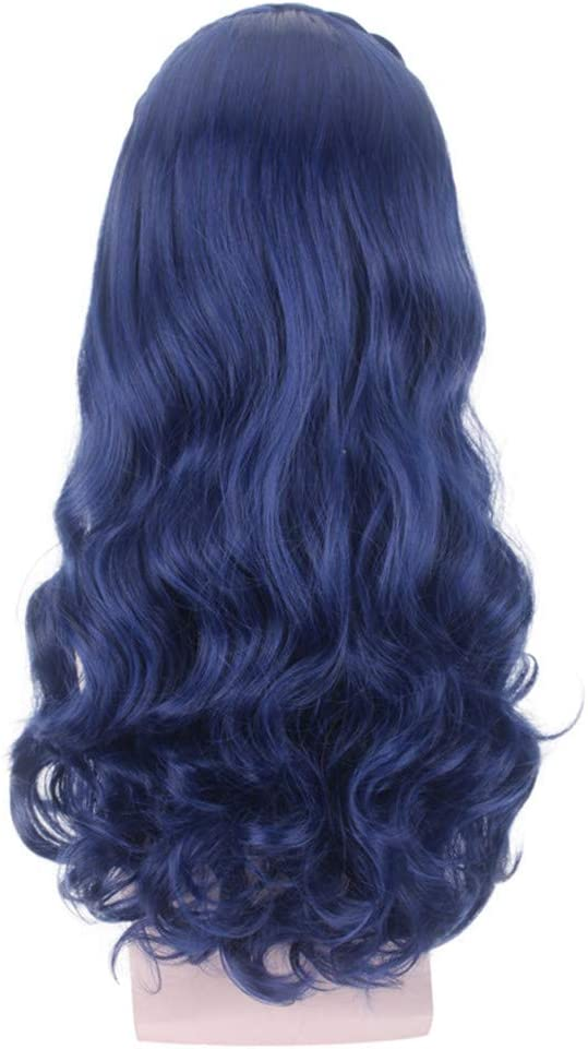 Amyseller Anime rizado azul oscuro peluca pelo largo cabeza completa Halloween sint/ético ondulado Pelucas para las mujeres Cosplay disfraz fiesta hairpiece