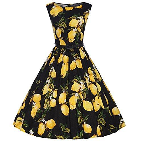 Moollyfox Mujer Retro 1950s Pin-up Limón Estampado Rockabilly Oscilación Cóctel Vestido con la Correa Negro Limón