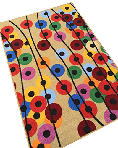 Polka Dot Floral Balloons Colorful Area Rug 3'3