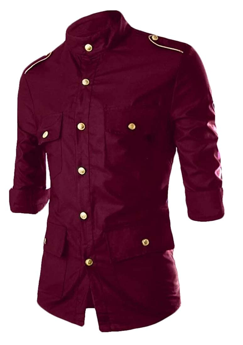 Gocgt Mens Slim Fit Business Tops Casual Cotton Long Sleeves Button Down Dress Shirts