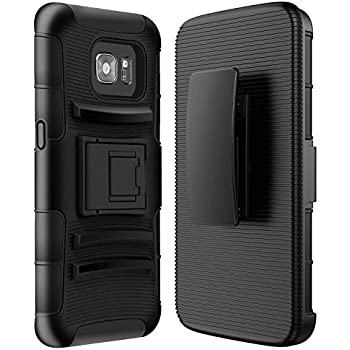 S7 Edge Case, Galaxy S7 Edge case, SGM® Hybrid Dual Layer Combo Armor Defender Protective Case With Kickstand + Belt Clip Holster For Samsung Galaxy S7 Edge