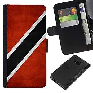 KLONGSHOP // Tirón de la caja Cartera de cuero con ranuras para tarjetas - Nación Bandera Nacional País Trinidad y Tobago - HTC One M9 //