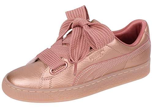 promo code 99452 1bba6 PUMA Basket Heart Copper Women's Satin Bow Sneakers Pink Size 10
