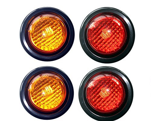 2 Amber 2 Red LED 2 Round Clearance/Side Marker Light Kits with Light and Grommet Truck Trailer RV Pack of 4