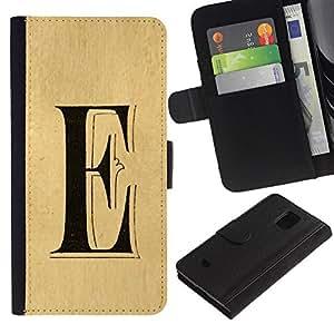 A-type (E Letter Every Elena Ellie Parchment) Colorida Impresión Funda Cuero Monedero Caja Bolsa Cubierta Caja Piel Card Slots Para Samsung Galaxy S5 Mini (Not S5), SM-G800