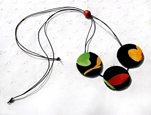 Big Colorful Button Necklace. Handmade Adjustable String Necklace with Textile Covered Buttons. Modern Minimalist Necklace. Red, Green, Black, Yellow Necklace.