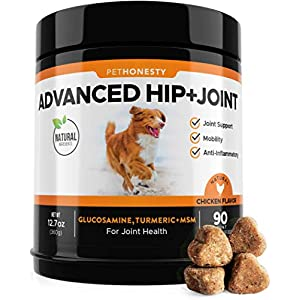 Glucosamine for Dogs – Dog Joint Supplement Support for Dogs with glucosamine Chondroitin, MSM, Turmeric – Advanced Hip and Joint Support for Dogs Chews and Pet Joint Pain Relief – 90 ct