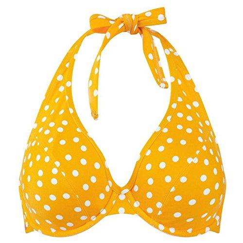 Panache CW0034 Betty Underwired Plunge Halterneck Bikini Top YELLOW SPOT Yellow 32FF