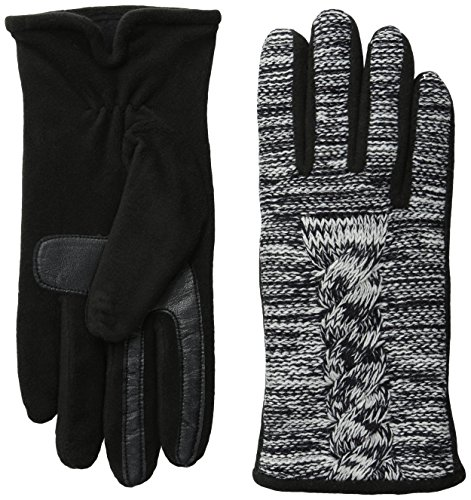 Isotoner Women's Smartouch Marled Cable Glove with Thermaflex, Black, X-Small/Small (Cable Marled)