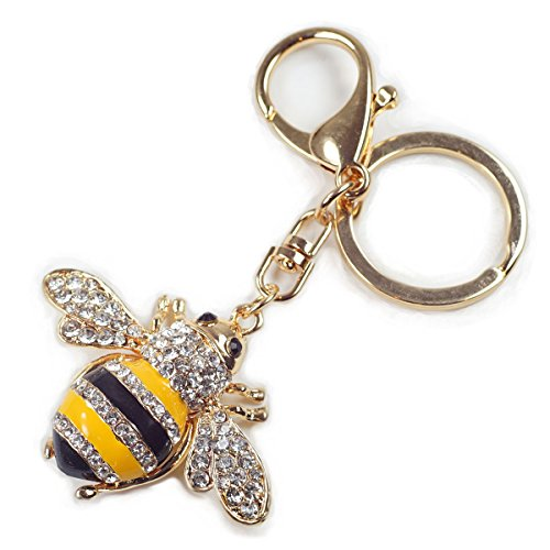Enamel Bumble Bee Rhinestone Crystal Handbag Key Ring Chain Keychain -