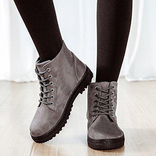 zapatillas Planos interno Calentar Nieve Sintética antideslizantes Gracosy Mujer y Botines casual para Botas Zapatos Invierno Botas cómodo lana Cálido Arriba gris Cordón qwxpv8H