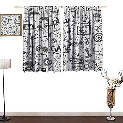 Video Games, Thermal Insulating Blackout Curtain, Monochrome Sketch Style Gaming Design Racing Monitor Device Gadget Teen 90s, Window Curtain Drape, W55 x L39 Inches, Black White