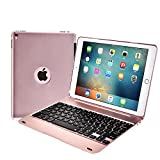 iPad Pro 9.7 Case with Keyboard Addprime Rose Gold Aluminum Alloy Shell 135° Adjustable Angles and Back Plate Chocolate ABS Button Ultra Slim Case Auto Wake / Sleep Wireless Keyboard for IPad Air 2