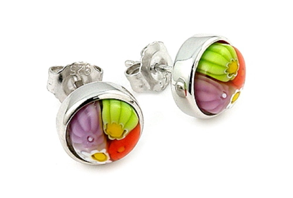 Multicolor Round Millefiori Bezel Set Stud Earrings Rhodium Plated Sterling Silver by CloseoutWarehouse (Image #1)