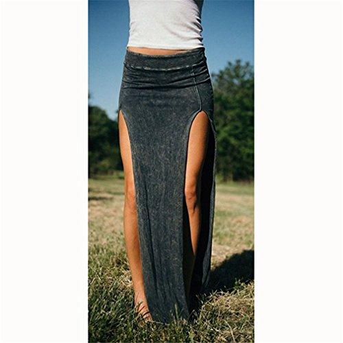 Meolin Women's Sexy Open Skirt Double Slits Knit Long Skirt Slim Side Split Dress Casual (Double Slit Skirt)