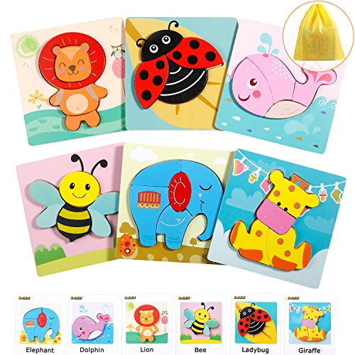 Wooden Puzzles for Toddlers 1 2 3 Years Old, (6 Pack) Animal Jigsaw Puzzles Kids Early Educational Toys Gifts for Boys & Girls with Storage Bag