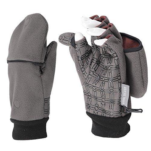Vital Salveo-Outdoor 3WARM Unisex Half Finger Gloves Windproof Non Slip Fingerless Fleece Gloves (Grey, Medium) ()