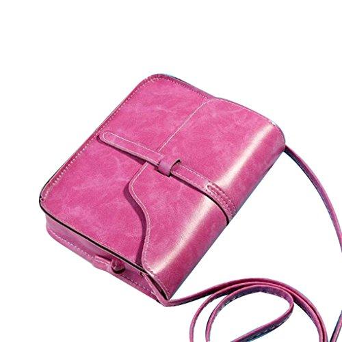 Messenger Bag,Han Shi Fashion Vintage Leather Cross Body Shoulder Purse Bag (Hot Pink, L)