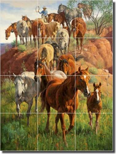 Western Horses Ceramic Tile Mural Backsplash 18'' x 24'' - Ladies First by Jack Sorenson - Kitchen Shower Decor by Artwork On Tile