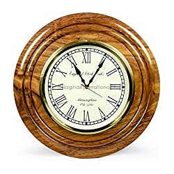 Nautical Brass Time's Wall Clock With Roman Numerals On Rosewood Premium Base | Hand Crafted Gifts & Decor | Nagina International (20 Inches)