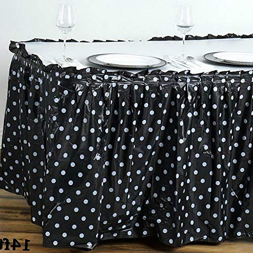 Mikash 14 ft x 29 Plastic Polka Dots Disposable Table Skirt Party Wedding Decorations | Model WDDNGDCRTN - 15948 - Denim Skirt Plums